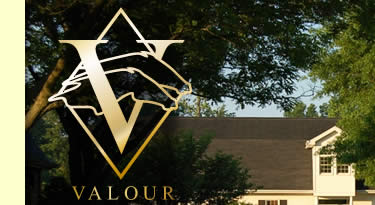Valour Farms logo over main office,top  left.